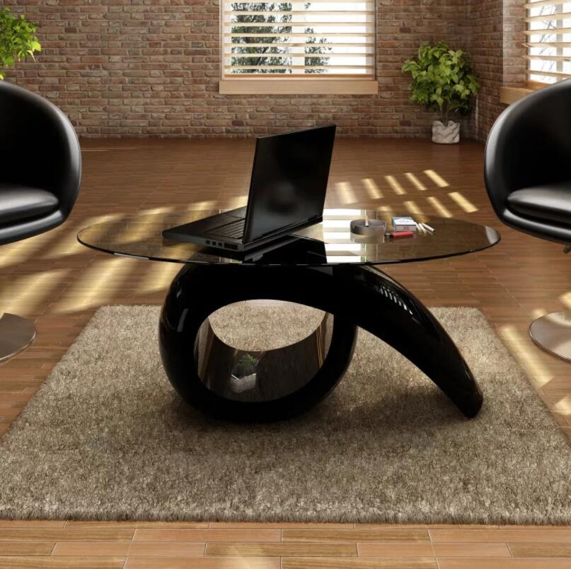 Tavolo da soggiorno / camera da letto di design. Minimal forma ovale in  vetro 115x64 cm (L x A)