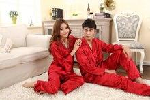 Romantic rose lovers pajamas for men and women homewear emulation silk pajamas