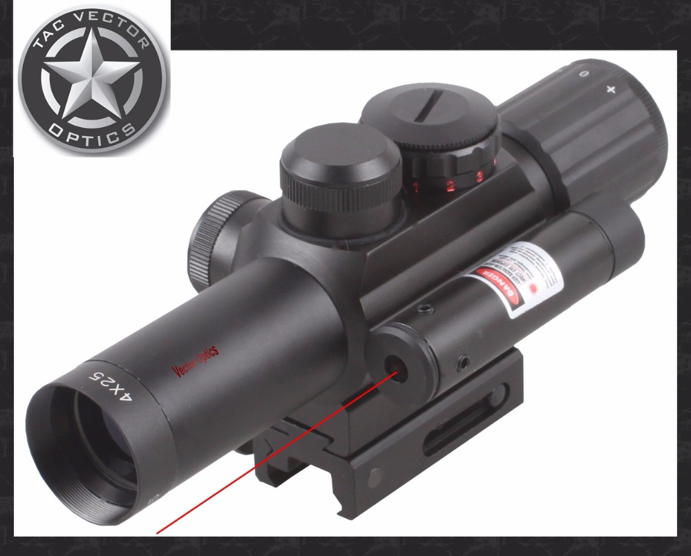 Vector Optics 4x25 E Shooting Hunting Compact Rifle Scope with Red Laser Weapon Sight Mil Dot Reticle 1/4 MOA Adjustment 3 10x42 red laser m9b tactical rifle scope red green mil dot reticle with side mounted red laser guaranteed 100%