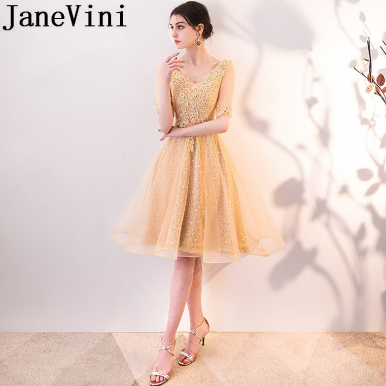 JaneVini 2018 Gold Short Bridesmaid Dresses For Weddings V-Neck Lace  Appliques Beads A-Line Knee-Length Formal Prom Gowns Wear 1828ec8a65b7