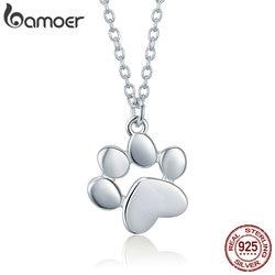 BAMOER Genuine 925 Sterling Silver Cute Animal Footprints Dog Cat Footprints Necklaces Pendants Women Silver Jewelry SCN275-2