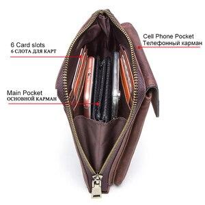 Image 3 - Contacts 本革メンズショルダーバッグ携帯電話カードホルダー男性ヴィンテージクロスボディバッグ男性の小さなウエストパック