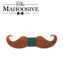Mahoosive Mustache Old School fashion wood bowtie butterfly gravatas gravatas para homens corbatas goom kravat bow ties for men(China)