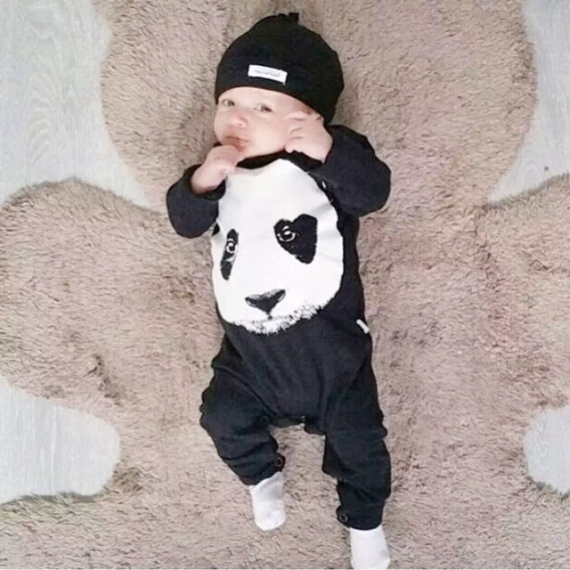 8592a653c 2017 Autumn baby clothing Rompers Fashion Panda Print long sleeved ...