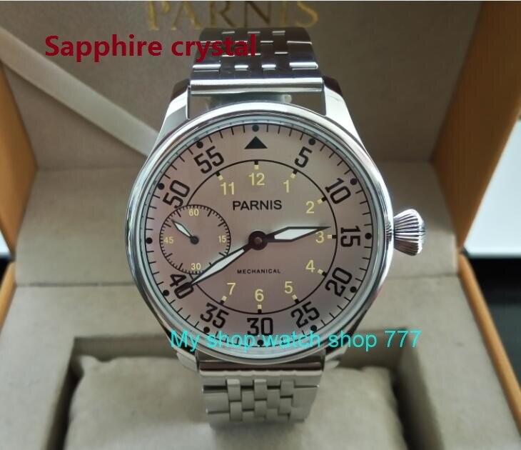 Saphir cristal 44mm PARNIS asiatique 17 bijoux ST3600/6497 mécanique main vent mouvement lait blanc cadran hommes montres sdgd45A