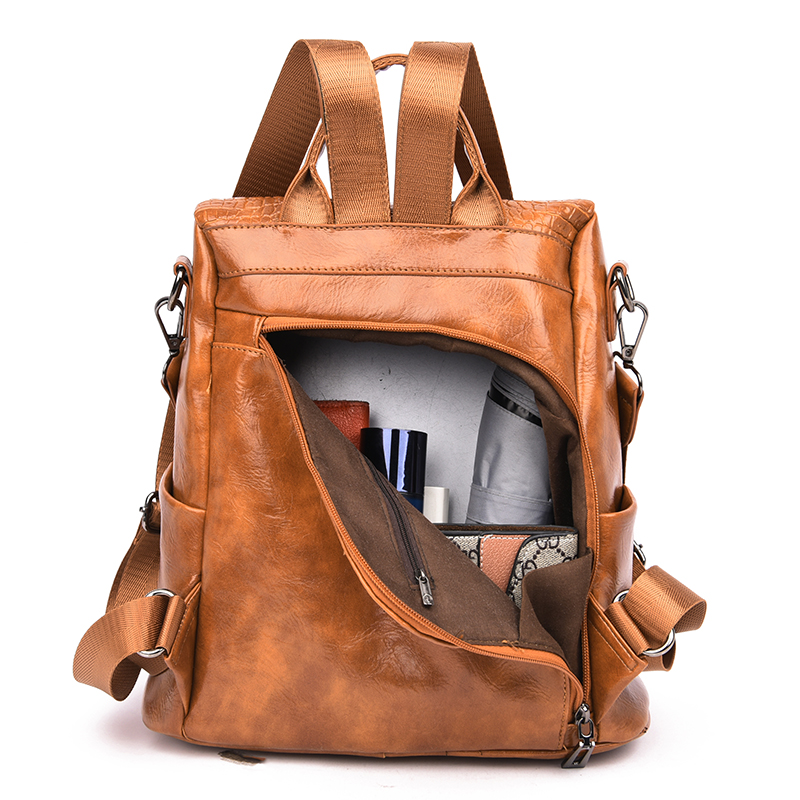Image 5 - Alligator PU Leather Women Backpack Anti Theft Casual School Backpack For Teenager Girls Large Capacity Multifunction Backpack-in Backpacks from Luggage & Bags