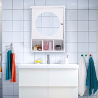 Giantex Bathroom Cabinet Mirror Door Wall Mount Storage Wood Shelf White Finish Modern Bathroom Furniture HW57015
