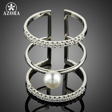 AZORA Adjustable Wedding Pearl Rings for Women Bridal Engagement Wedding Jewelry Clear Cubic Zirconia Whole Finger Ring TR0219(China)