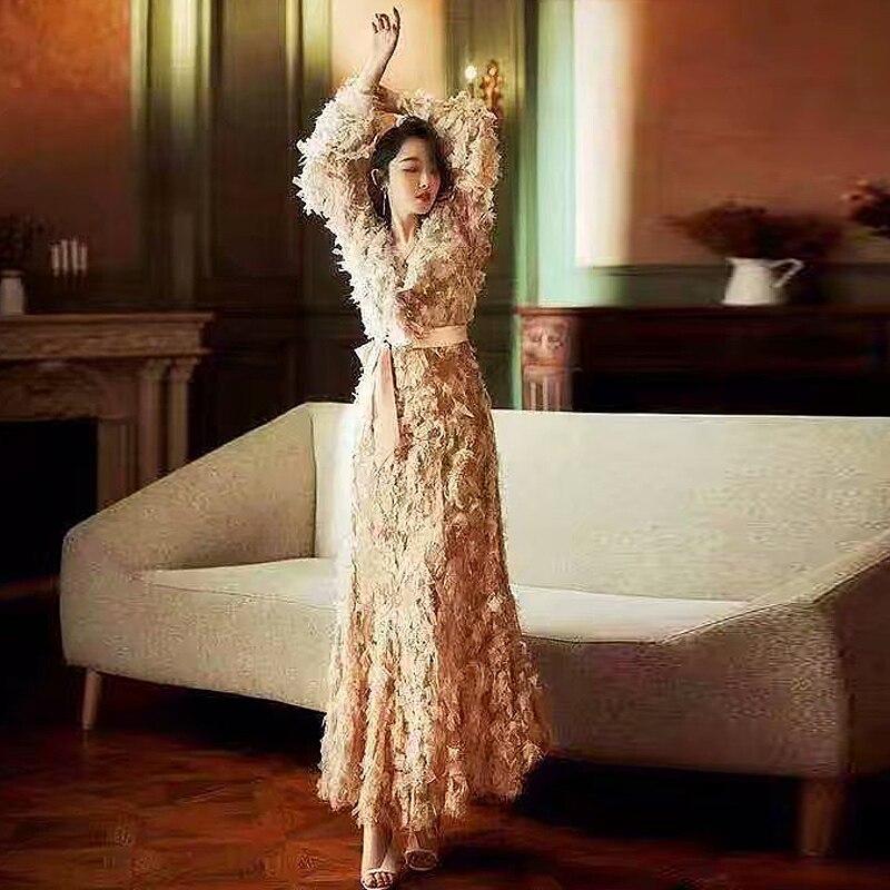 Haute Travail De Partie Piste rouge Sexy À Vintage Chic Femmes Longues Qualité Longue Printemps Mode Nouvelles Robe Manches Rose Élégant Dentelle 2019 Robes qPEvtxwpn