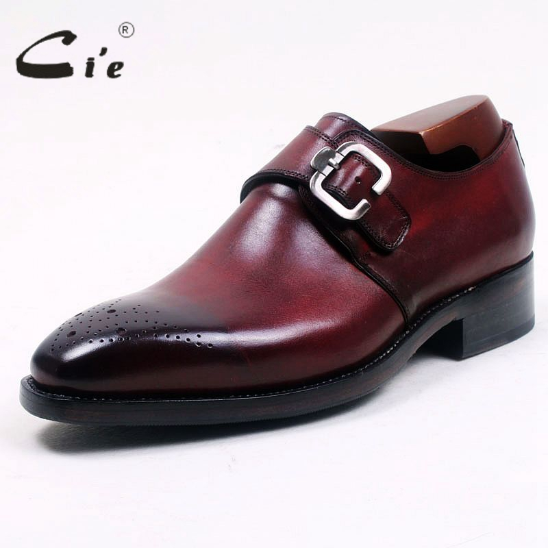 cie Square Toe Cut-outs Hand-Painted Deep Wine Single Monk Straps 100% Genuine Calf Leather Bottom Breathable Men's Shoe MS99