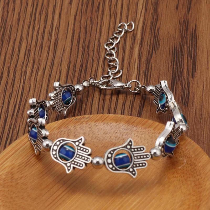 Tenande 2 cor do vintage contas de pedra natural hamsa mão mal olho pulseiras & pulseiras para jóias femininas boêmio maxi bijoux