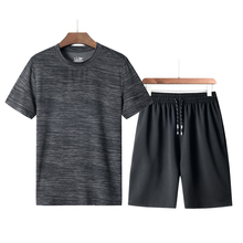 Mens Summer Casual Quick Dry Sports Set Solid 2 Pieces Running Jogging Cycling Gym Tracksuit T-Shirts + Shorts New,GA345