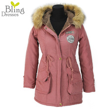 Ветровки ватные верхней вниз зимняя женщина леди теплый хлопка куртка одежды