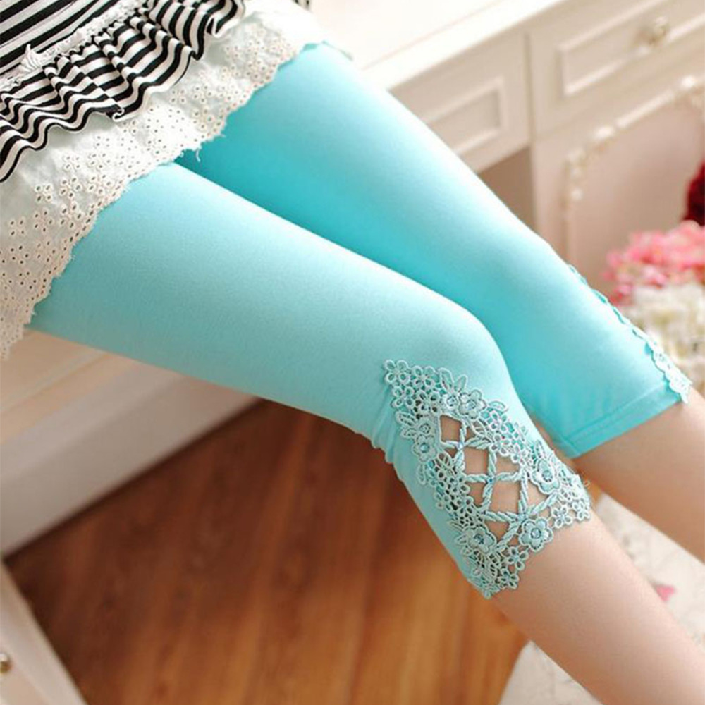 2016 NEW Fashion Women Leggins Candy Color Modal Cotton Leggings Elastic Lace Hollow out Stretch Skinny
