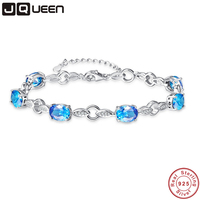 JQUEEN 6 stücke Ocean Blue Topaz Oval Edelstein schmuck Strang Armbänder & Armreifen echt 925 Silber edlen Schmuck für Frauen