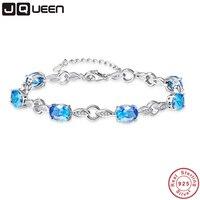 JQUEEN 6pcs Ocean Blue Topaz Oval Gemstone jewellery Strand Bracelets & Bangles real 925 Silver fine Jewelry for Women