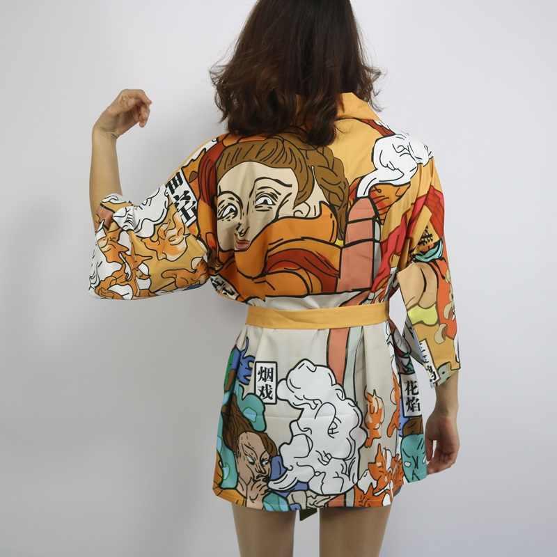 Кимоно кардиган блузка рубашка Лето пляжные кимоно женщина 2018 косплэй юката женский Оби японский уличная komono FF1126K