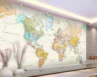Beibehang Classic Fashion Background Wall Paper Exquisite Light Color Version World Map Decorative Painting