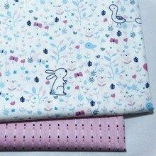 half meter reactive A grade infant baby pure cotton brocade bedding garment DIY fabric cartoon rabbit bird little flower A464