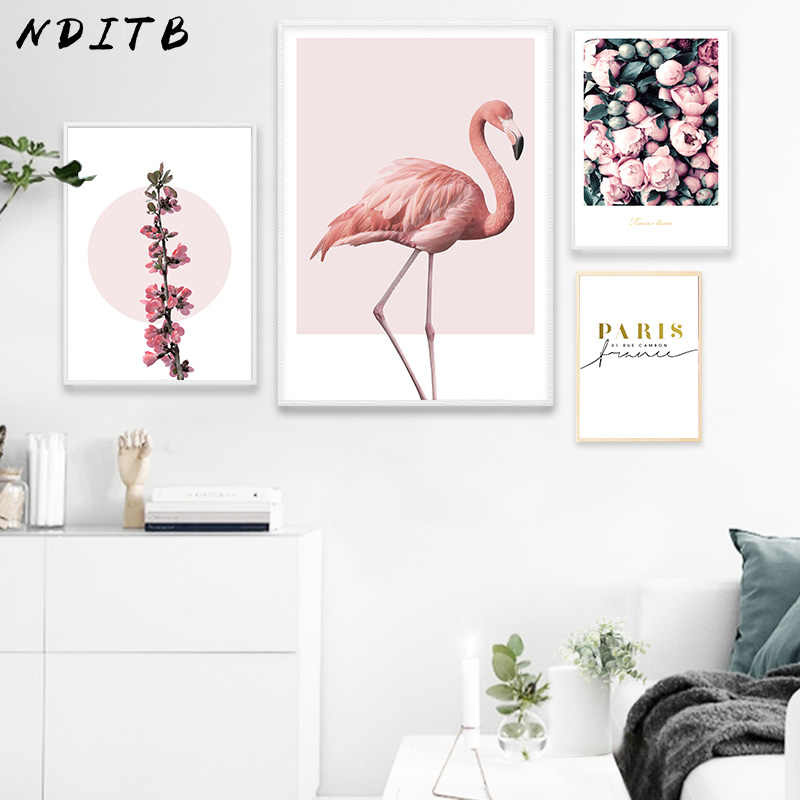 NDITB Flamingo Flower Canvas Art Posters Prints Nordic Style Landscape Minimalist Painting Modern Wall Picture for Living Room
