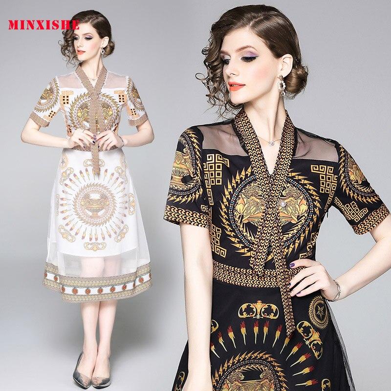Summer Women Dress 2019 Sexy Vintage Bodycon Elegant Mesh Midi Maxi White Black V Neck Printing Casual Party Night Long Dress