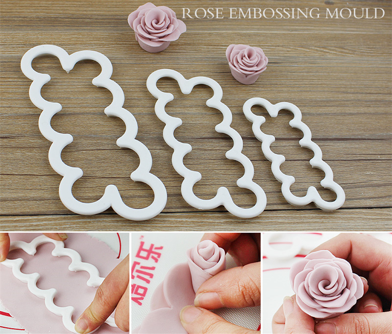 3pcs Cake Gumpaste Sugarcraft Easiest Rose Ever cutter Cookie Cutter Fondant Decorating Tool Sugarcraft Rose Flower Mold ...