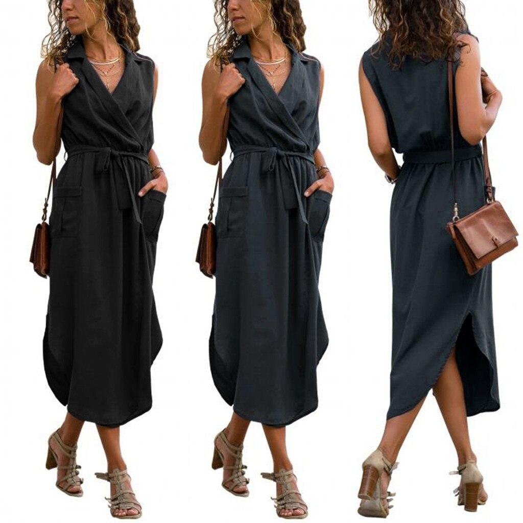 Summer Dress Women Sleeveless Solid Pockets V Neck Turn Down Collar Tie up Belt Robes Long Dresses Woman Party Night Vestidos