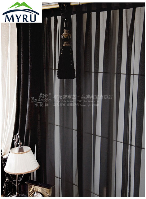 Perfect MYRU New Arrival Solid Color Screens Custom Black Sheer Curtains Black  Curtains For Living Room And