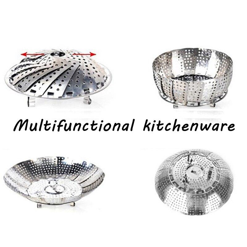 Steel Multifunction Fooddish Foodsteamerbasket Foodd Ishfoldingmesh Eggpoachercook Foldingstainlessmesh Cookingbasket