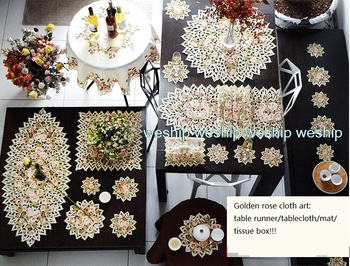 Special offer Golden rose High-end luxury embroidery cloth art  The table cloth  Table flag  Table mat Dust cover towel