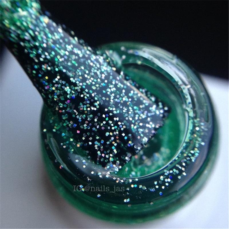 1 Bottle 10ml BORN PRETTY Nail Gel Polish Glitter Light Green Shining Manicure UV Gel Varnish Soak Off Nail Art Gel Lacquer #4