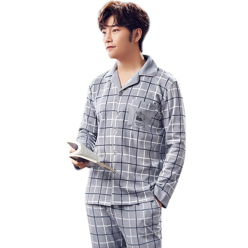 Sleepwear Pajamas-Sets Nightwear-Sets Male Men Plaid Pants Tops Autumn Hot-Sale