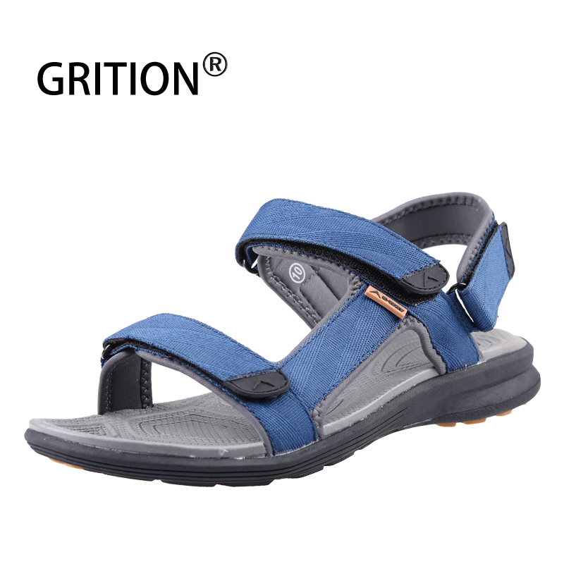 GRITION Men Sandals Outdoor Beach Summer Shoes Flat Lightweight Casual Leather Sandals Male Breathable 2019 New Hiking Shoes 46#