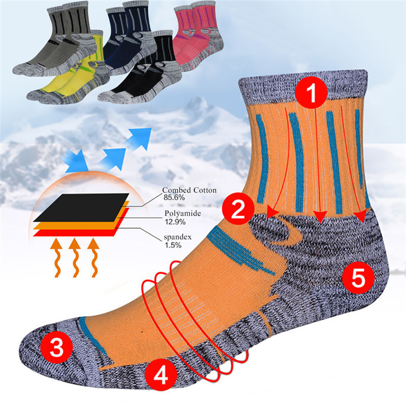 Outdoor Sports Mountaineering Skiing Socks Men Male Professional Breathable Cotton Socks for Travel Hiking Climbing Running