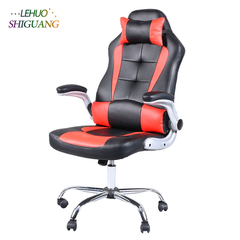 Red black PU leather High Back Swivel Chair Gaming Chair With Headrest Rotating lift soft office chair Fashion office furniture цена