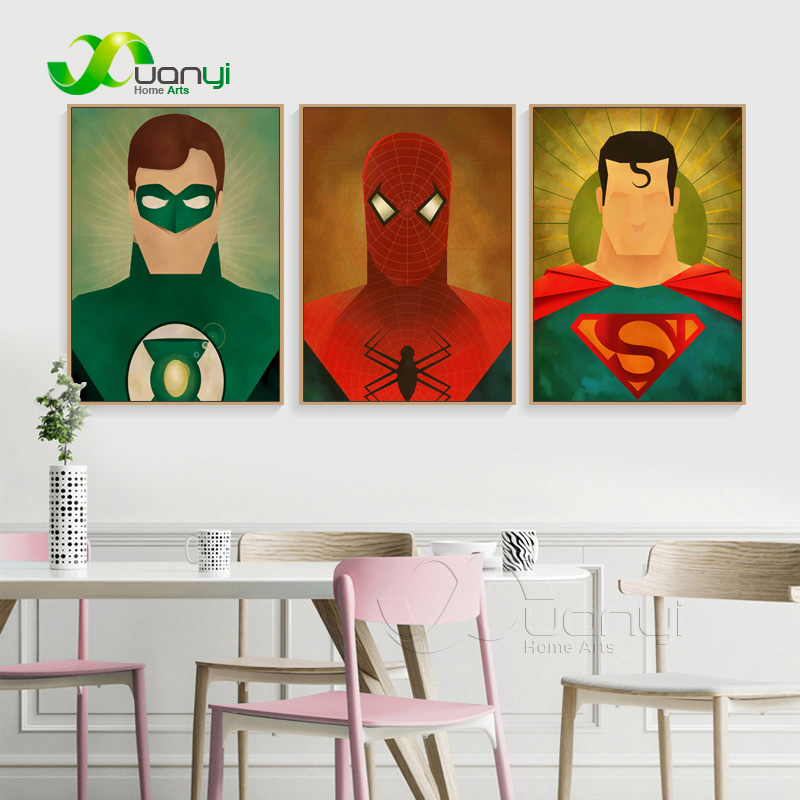 3 Panels Poster Superhero Canvas Painting Abstract Art Spray Painting Super Hero Pictures For Kids Room Wall Decor Unframed in Painting Calligraphy from Home Garden