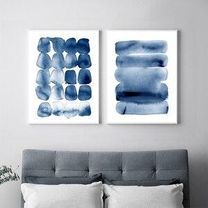 Абстрактные акварельные настенные художественные современные минималистичные картины темно-синие кисти, большой постер и принт, домашний ...