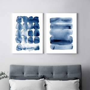 Abstract Watercolor Wall Art Modern Minimalist Painting Picture Navy Blue Brush Stroke Large Poster And Print Bedroom Home Decor(China)