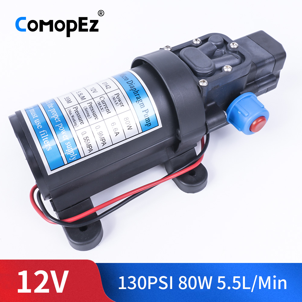 DC 12V 80W 130PSI 5.5L / Min Electric Water Pump High Pressure Diaphragm Water Pump Automatic Switch For Garden