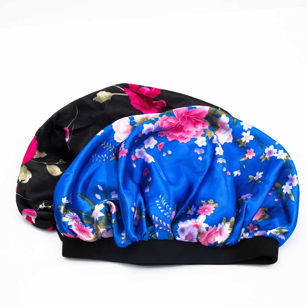 1PC Women Beauty Salon Cap Night Sleep Cap Head Cover Satin Bonnet Hat For Curly Springy Hair Chemo Cap Prevent Hair Falling
