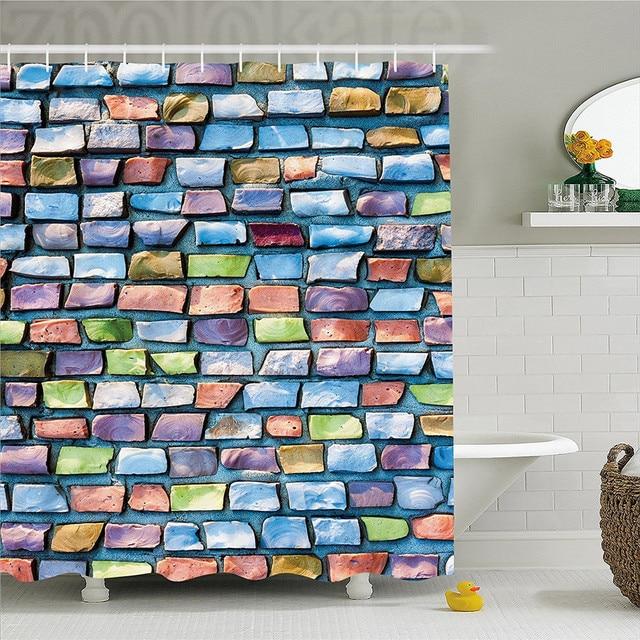 Geometric Decor Shower Curtain Colorful Mosaic Textured Sketchy Brick Wall Display Glossy Grid Modern Artwork Bathroom Set