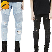 Hot 2016 Hip Hop Hole Ripped Jeans Men Fashion Pleated Runway Distressed Biker Boy Blue/Black Motorcycle Trousers Bottoms 28-40