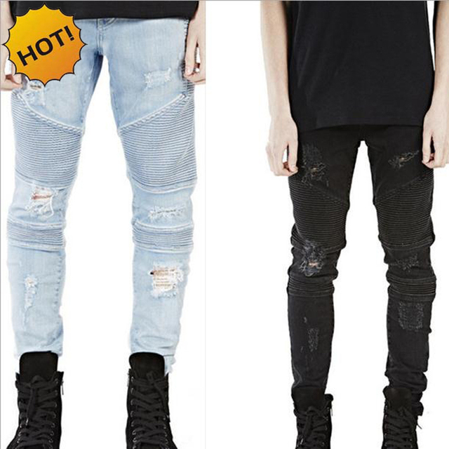 Hot 2018 Hip Hop Hole Ripped Jeans Men Fashion Pleated Runway