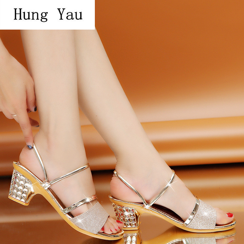 Gladiator Shoes Slippers Pumps Wedges Woman Sandals Bling High-Heels Summer-Style Fashion