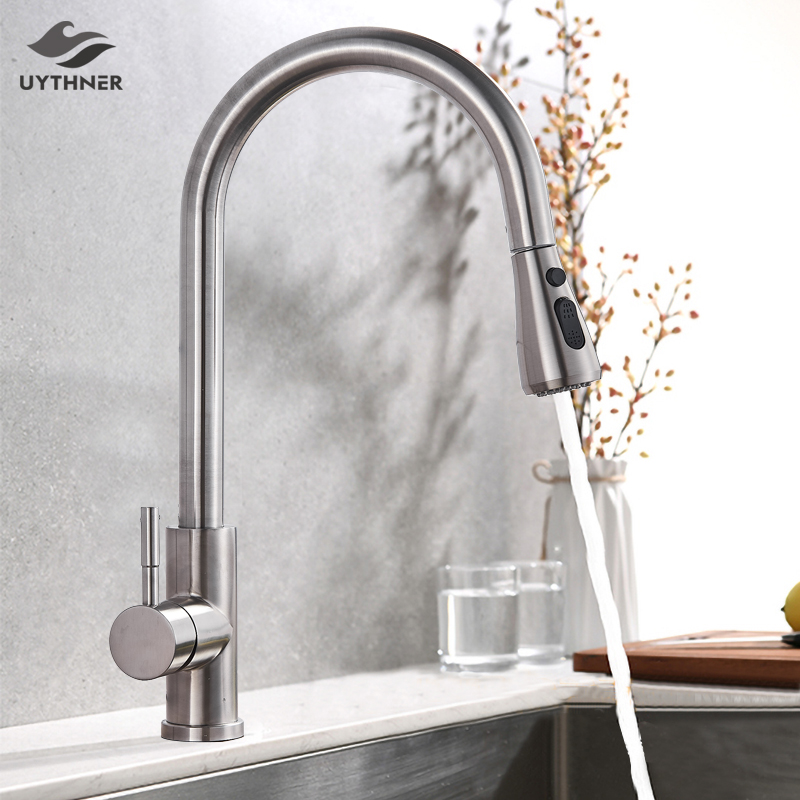Brushed Nickle Kitchen Sink Faucet Swivel Pull Out Kitchen Faucet Sink Tap Deck Mounted Bathroom Crane