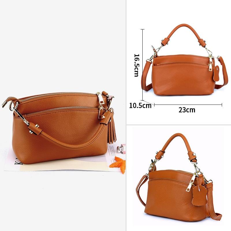 Female Handbags Soft Genuine Leather Shoulder Bag Women's Shoulder Bags Color: YELLOW