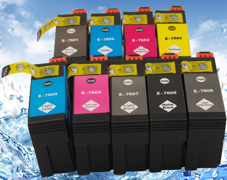 Full Ink 9 PCS Ink Cartridge T7601 T7602 T7603 T7604 T7605 T7606 T7607 T7608 T7609 Printer for Epson Surecolor P600 with chip 200ml bulk ciss for p600 use t7601 9 ink system for p600 printer ink system
