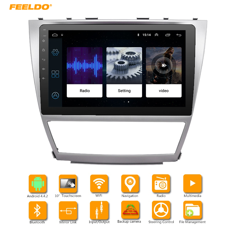 FEELDO 10.2 inch Bigger HD Screen Android 6.0 Quad Core Car Media Player With GPS Navi Radio For Toyota Camry XV40 (2007-2011) feeldo 7inch android 4 4 2 quad core car media player with gps navi radio for nissan hyundai universal 2din iso gift am3900
