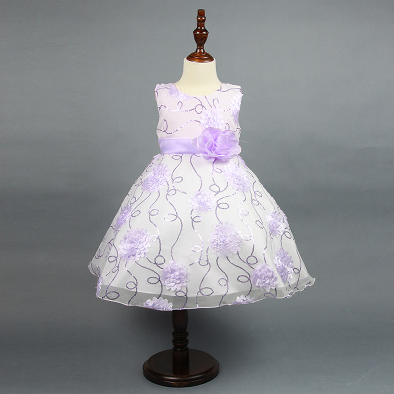 New Summer Children Girl Dress Cute Flower Color Pink Purple Girl Lace Princess Dress Sequins Sleeveless new summer