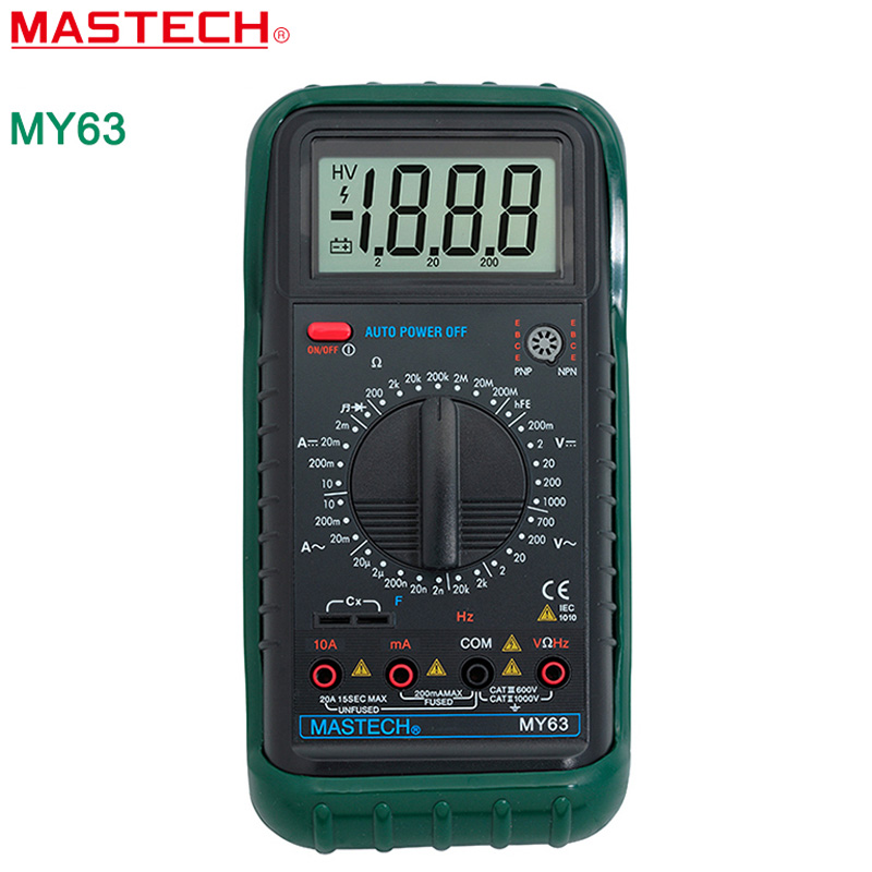 MASTECH MY63 2000 counts Digital Multimeter DMM w/Temperature Capacitance & hFE Testers Meters Ammeter Megohmmeter  цены